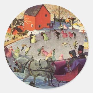 Sticker Rond Noël vintage, histoires d'amour Sleigh