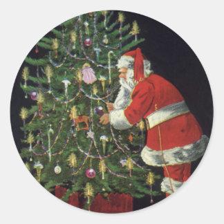 Sticker Rond Noël vintage, le père noël avec des présents