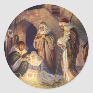 Sticker Rond Noël vintage, trois bergers et bébé Jésus
