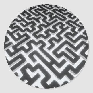 Sticker Rond Noir argenté de labyrinthe