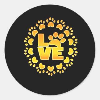 Sticker Rond Noir brillant d'impression de décoration d'or de