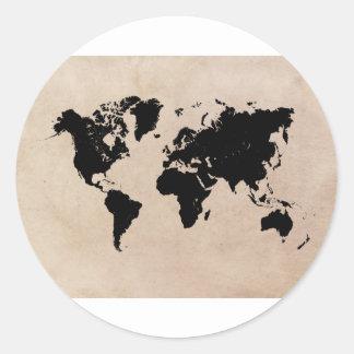 Sticker Rond noir de carte du monde
