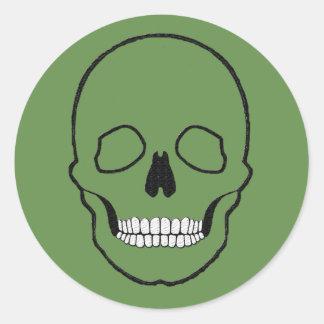 Sticker Rond Noir de crâne