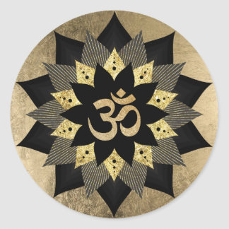 Sticker Rond Noir de symbole de l'OM de yoga et fleur de Lotus
