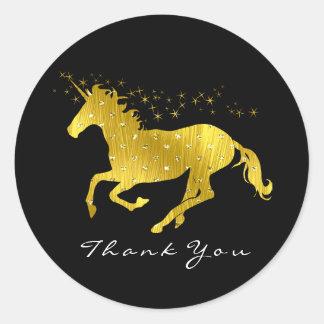 Sticker Rond Noir d'or de nom de Merci d'étoiles de coeurs de