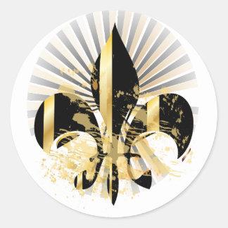 Sticker Rond Noir et Gold Fleur de Lis