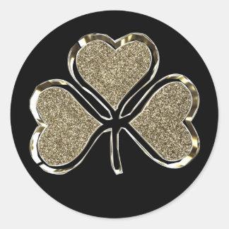 Sticker Rond Noir et Irlandais Irlande de trèfle de shamrock