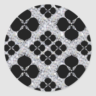 Sticker Rond Noir floral sur le motif de diamant