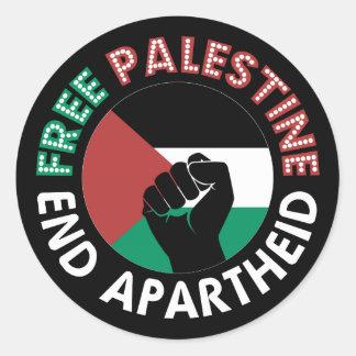 Sticker Rond Noir libre de poing de drapeau d'apartheid de fin