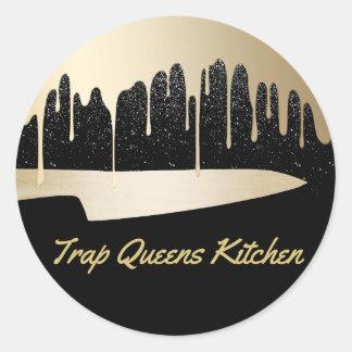 Sticker Rond Noir moderne et or de restaurant de restauration