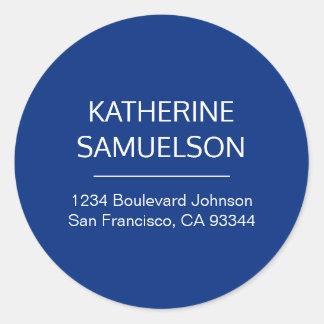 Sticker Rond Nom blanc classique de bleu marine et adresse de