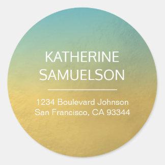 Sticker Rond Nom bleu d'Ombre de feuille d'or et adresse de