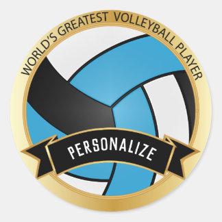 Sticker Rond Nom de bleu layette, blanc et noir du volleyball |