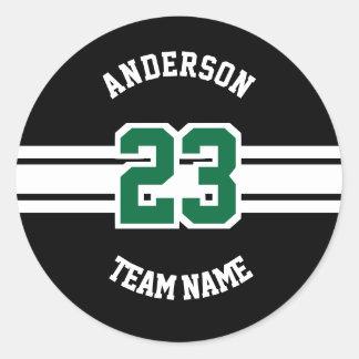 Sticker Rond Nom de sport, équipe et conceptions de nombre