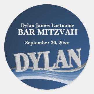 Sticker Rond Nom Dylan de bleu en acier