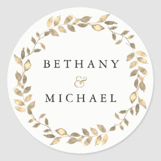 Sticker Rond Nom moderne élégant de mariage de guirlande de