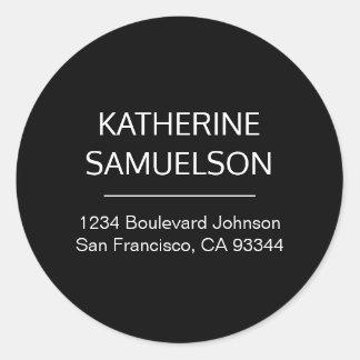 Sticker Rond Nom noir blanc classique et adresse de retour