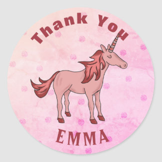 Sticker Rond Nom rose de Merci de licorne