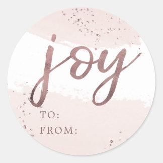 Sticker Rond Nom rose de Noël d'or de la joie |