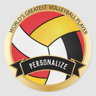 Sticker Rond Nom rouge, jaune, blanc et noir du volleyball |