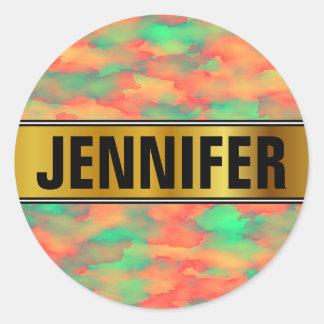 Sticker Rond Nom + Vert, rouge Aquarelle-Comme le motif