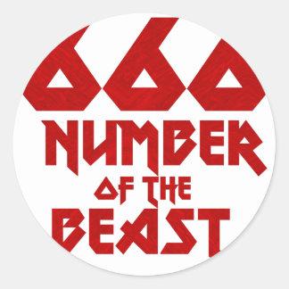 Sticker Rond Nombre de la bête