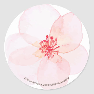 Sticker Rond Noms. Fleurs de rose de ressort d'aquarelle