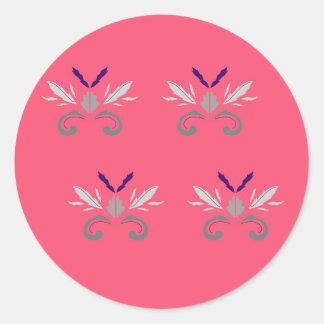 Sticker Rond Nostalgie rose de luxe d'éléments