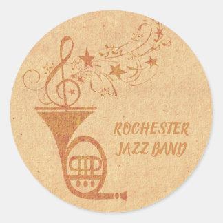 Sticker Rond Notes musicales de cor de harmonie vintage