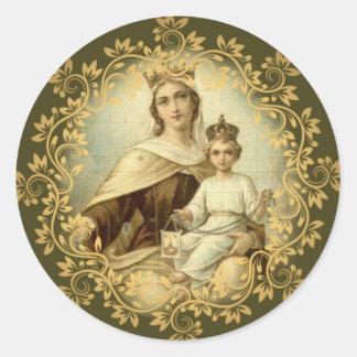 Sticker Rond Notre Madame de bébé Jésus du mont Carmel omoplate