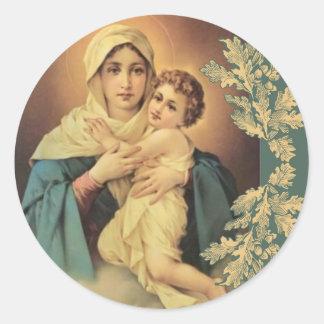 Sticker Rond Notre Madame de Vierge Marie Jésus Schoenstatt
