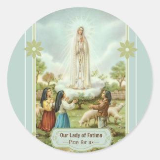 Sticker Rond Notre Madame des moutons d'enfants de Fatima