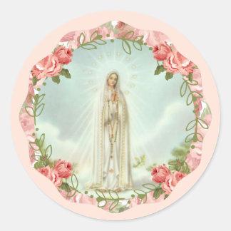 Sticker Rond Notre Madame des roses roses de Fatima