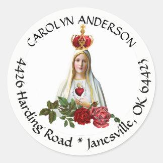 Sticker Rond Notre Madame d'étiquette de adresse de Fatima