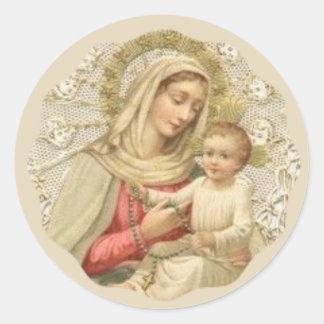 Sticker Rond Notre Madame du chapelet avec le bébé Jésus