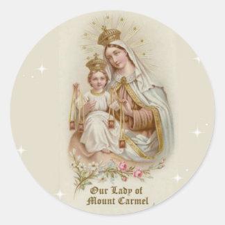 Sticker Rond Notre Madame du mont Carmel avec le bébé Jésus