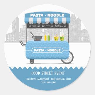 Sticker Rond Nouille de pâtes de rue de nourriture