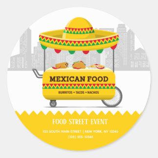 Sticker Rond Nourriture de Mexicain de rue de nourriture