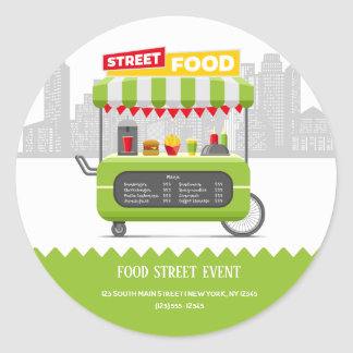 Sticker Rond Nourriture de rue