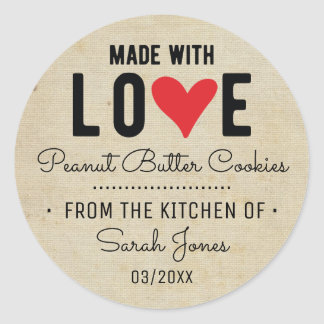 Sticker Rond Nourriture vintage faite avec amour à partir de la