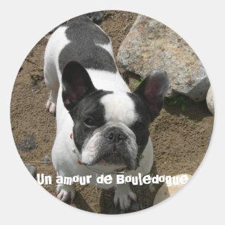 Sticker Rond Nouvelle image, Un amour de Bouledogue