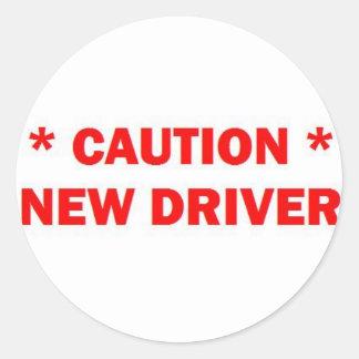 Sticker Rond Nouvelle précaution de conducteur