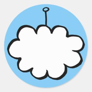 Sticker Rond Nuage personnalisé sur une ficelle