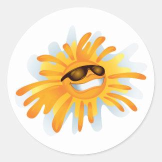 Sticker Rond Nuances de port heureuses de Sun