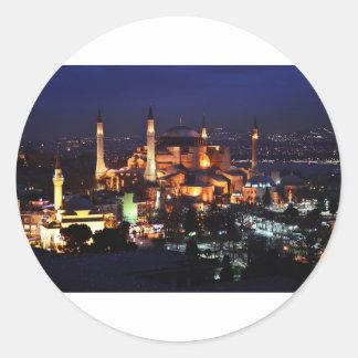 Sticker Rond Nuit de Hagia Sophia
