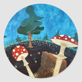 Sticker Rond nuit trippy dans les bois
