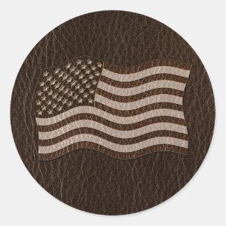 Sticker Rond Obscurité simili cuir de drapeau des Etats-Unis