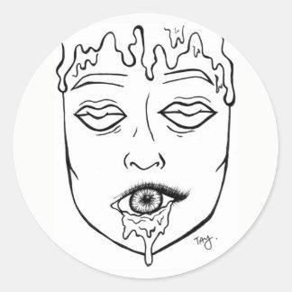 Sticker Rond observe le visage de lèvres