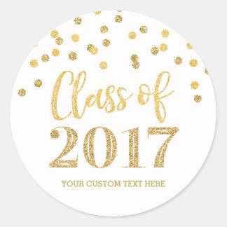 Sticker Rond Obtention du diplôme 2017 de confettis de