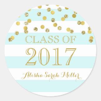 Sticker Rond Obtention du diplôme 2017 de confettis d'or de